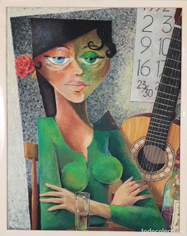 RETRATO DE FLAMENCA. ÓLEO SOBRE TABLA. ANGEL DE LUNA. 1992. (Arte - Pintura - Pintura al Óleo Contemporánea )