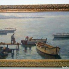 Arte: LLUIS BONADA BERENGUER. PINTOR NACIDO EN SABADELL EN 1908. (PESCADORES) IBIZA.. Lote 134546809