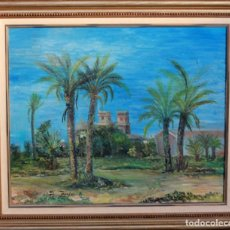 Arte: OLEO SOBRE LIENZO, LAS PALMERAS, ALICANTE O PROVINCIA, FIRMA ILEGIBLE. 65X54CM. Lote 134646230