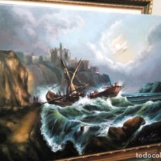 Arte: JOLOGA. MARINA NOCTURNA: NAUFRAGIO. 81X65. LIENZO DE LINO. ELIGE MARCO GRATIS.. Lote 127488167