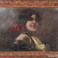 Arte: RETRATO DE MAJA. ÓLEO SOBRE CARTÓN. ANDRÉS LARRAGA. SIGLO XIX. . Lote 134751722