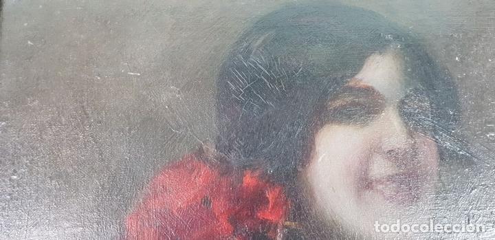 Arte: RETRATO DE MAJA. ÓLEO SOBRE CARTÓN. ANDRÉS LARRAGA. SIGLO XIX. - Foto 4 - 134751722