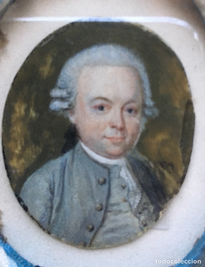 GRAN MINIATURA PINTADA XVIII EN MARCO NOGAL XIX (Arte - Pintura - Pintura al Óleo Antigua siglo XVIII)