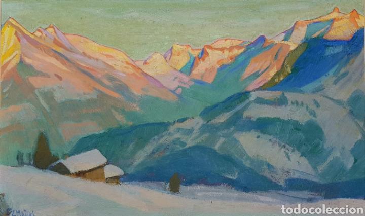 ERNST HODEL (LUCERNE 1881-1955) PRECIOSA PINTURA FIRMADA. (Arte - Pintura - Pintura al Óleo Moderna sin fecha definida)