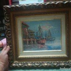 Arte: BONITA PINTURA AL ÓLEO CON PAISAJE MARINO CON BARCOS MIREN FOTOS . Lote 134956198
