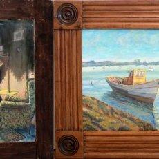 Arte - Oleo sobre tabla pintado a dos caras, marina y escena de interior. S.XX, enmarcado. 47x56cm - 135007502