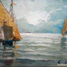 Arte: RAFAEL FERNÁNDEZ DE SOTO (BAGÀ 1915 - BARCELONA 1984) OLEO SOBRE TABLA. MARINA. Lote 135011818