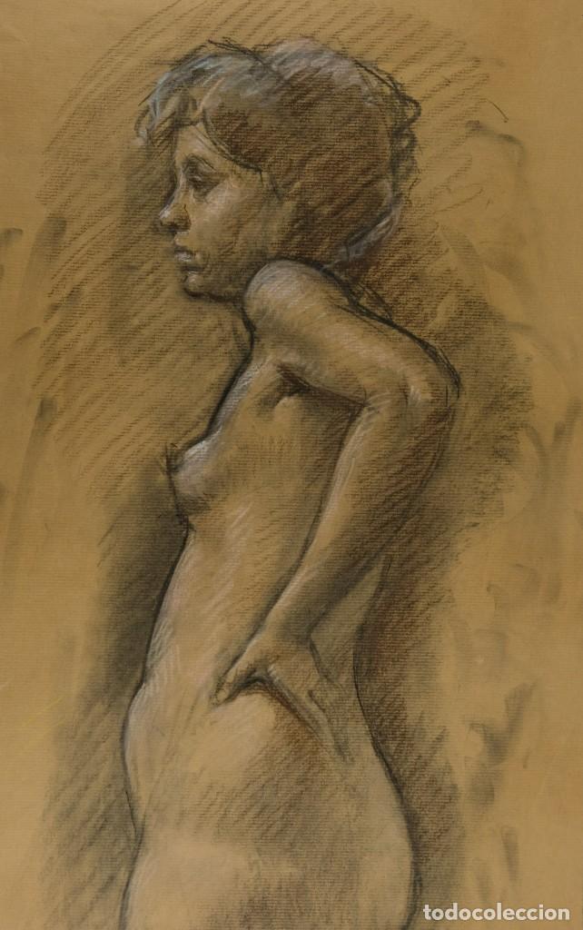 CARBONCILLO Y PASTEL DESNUDO FEMENINO AÑOS 80 (Arte - Pintura - Pintura al Óleo Contemporánea )