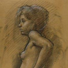 Arte: CARBONCILLO Y PASTEL DESNUDO FEMENINO AÑOS 80. Lote 135049506