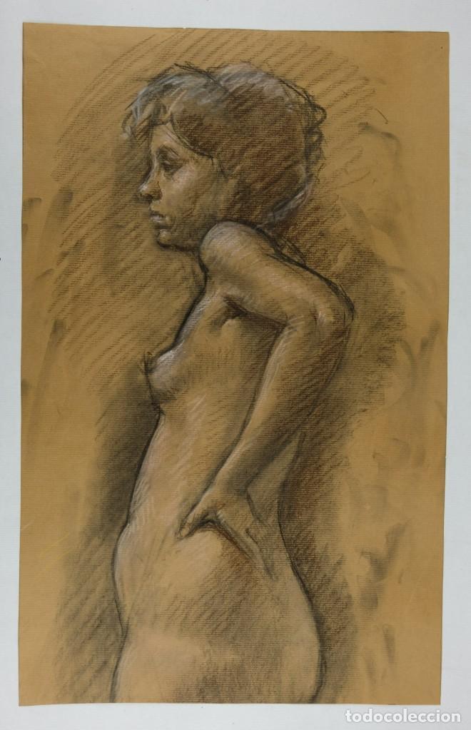 Arte: Carboncillo y pastel Desnudo femenino años 80 - Foto 2 - 135049506