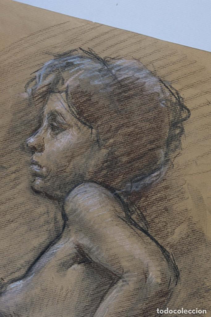 Arte: Carboncillo y pastel Desnudo femenino años 80 - Foto 3 - 135049506