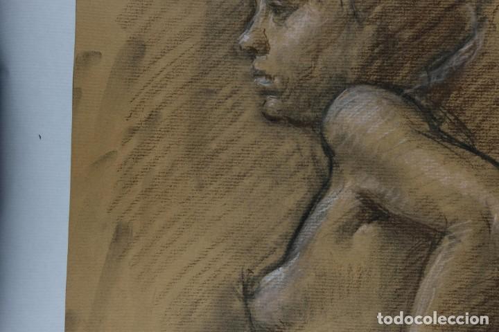Arte: Carboncillo y pastel Desnudo femenino años 80 - Foto 6 - 135049506