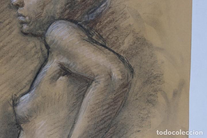 Arte: Carboncillo y pastel Desnudo femenino años 80 - Foto 7 - 135049506