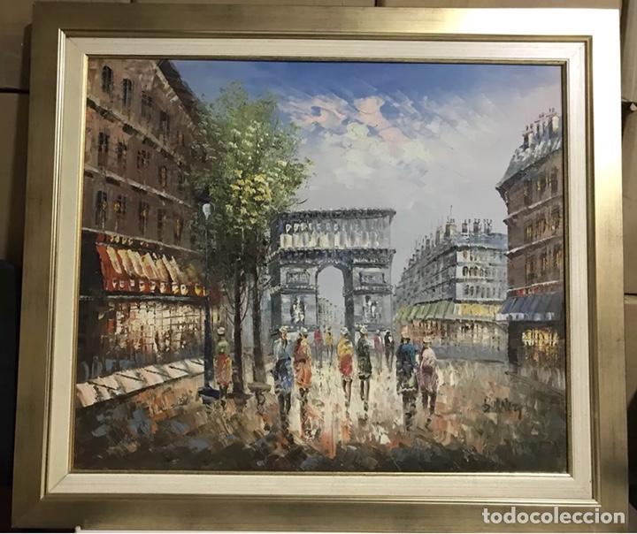 CUADRO OLEO SOBRE LIENZO ARCO TRIUNFO PARIS (Arte - Pintura - Pintura al Óleo Moderna siglo XIX)