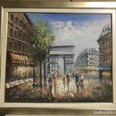 Arte: CUADRO OLEO SOBRE LIENZO ARCO TRIUNFO PARIS. Lote 135117270