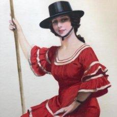 Arte: PINTURA GOUACHE MUJER EN ROMERIA FIRMA CARLOS VAZQUEZ SIGLO XIX - XX. Lote 135130302