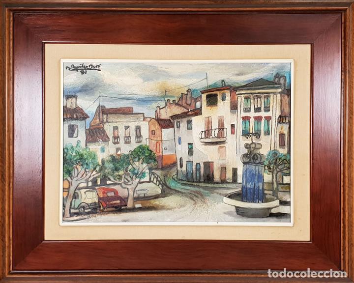 CALLE DE PUEBLO. ÓLEO SOBRE TABLA. RAMON AGUILAR MORÉ. 1981. (Arte - Pintura - Pintura al Óleo Contemporánea )