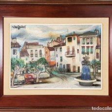Arte: CALLE DE PUEBLO. ÓLEO SOBRE TABLA. RAMON AGUILAR MORÉ. 1981. . Lote 135189522
