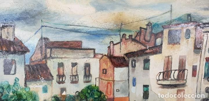 Arte: CALLE DE PUEBLO. ÓLEO SOBRE TABLA. RAMON AGUILAR MORÉ. 1981. - Foto 3 - 135189522