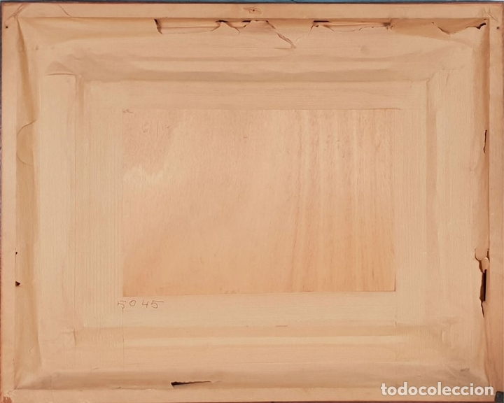 Arte: CALLE DE PUEBLO. ÓLEO SOBRE TABLA. RAMON AGUILAR MORÉ. 1981. - Foto 8 - 135189522