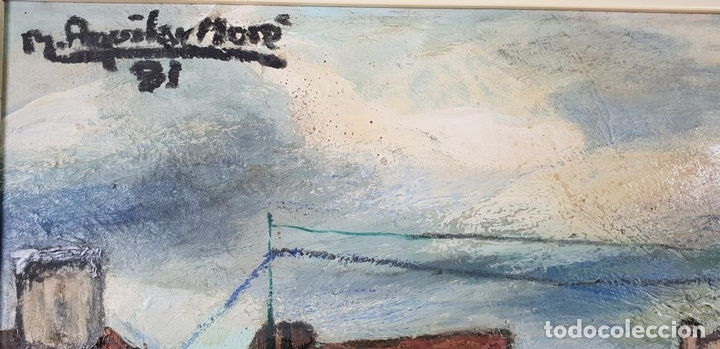 Arte: CALLE DE PUEBLO. ÓLEO SOBRE TABLA. RAMON AGUILAR MORÉ. 1981. - Foto 9 - 135189522