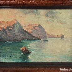 Arte: PAISAJE COSTERO. ÓLEO SOBRE TABLA. FIRMADO M. FAJARDO. SIGLO XX. . Lote 135293858