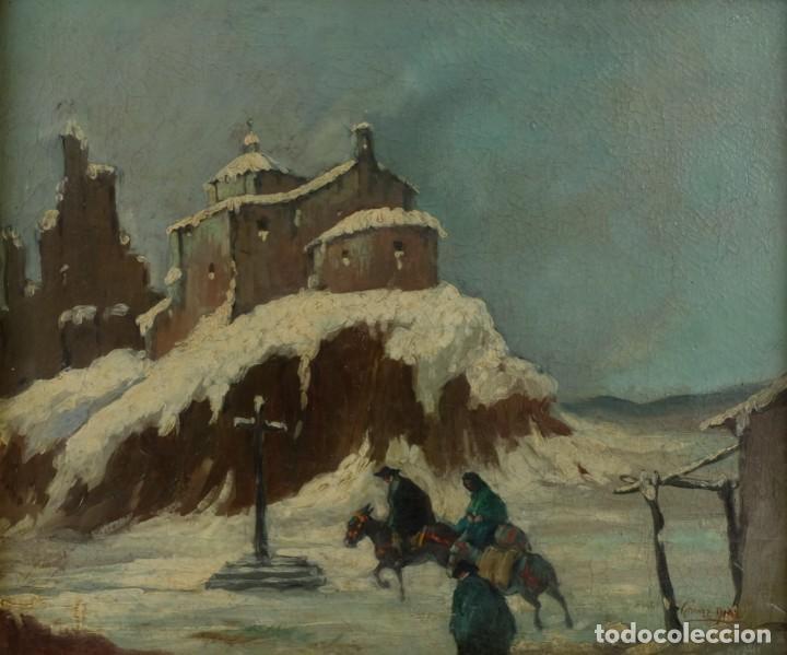 MANUEL GÓMEZ DIAZ (1909-1967) ÓLEO SOBRE LIENZO PAISAJE DE INVIERNO (Arte - Pintura - Pintura al Óleo Contemporánea )