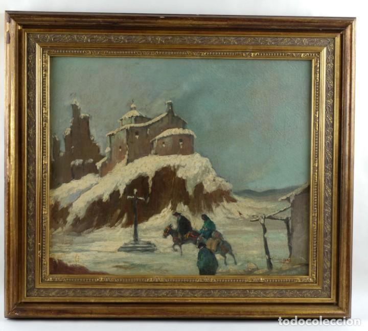 Arte: Manuel Gómez Diaz (1909-1967) óleo sobre lienzo Paisaje de invierno - Foto 2 - 135351718