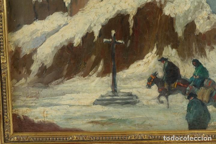 Arte: Manuel Gómez Diaz (1909-1967) óleo sobre lienzo Paisaje de invierno - Foto 5 - 135351718
