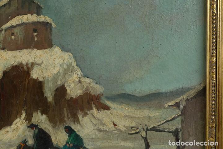 Arte: Manuel Gómez Diaz (1909-1967) óleo sobre lienzo Paisaje de invierno - Foto 7 - 135351718