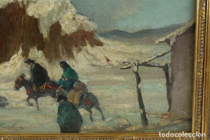 Arte: Manuel Gómez Diaz (1909-1967) óleo sobre lienzo Paisaje de invierno - Foto 8 - 135351718