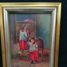 Arte: MONAGUILLOS BUSCANDO LA RECAUDACION DE LA MISA POR B.RUBIO. Lote 135369198