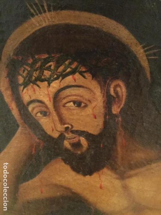 Arte: Espectacular óleo sobre lienzo , Ecce Homo.Cristo cautivo, Siglo XVII, sin repintes, original - Foto 3 - 115408767