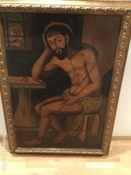 Arte: Espectacular óleo sobre lienzo , Ecce Homo.Cristo cautivo, Siglo XVII, sin repintes, original - Foto 2 - 115408767