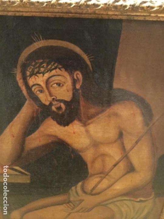 Arte: Espectacular óleo sobre lienzo , Ecce Homo.Cristo cautivo, Siglo XVII, sin repintes, original - Foto 4 - 115408767