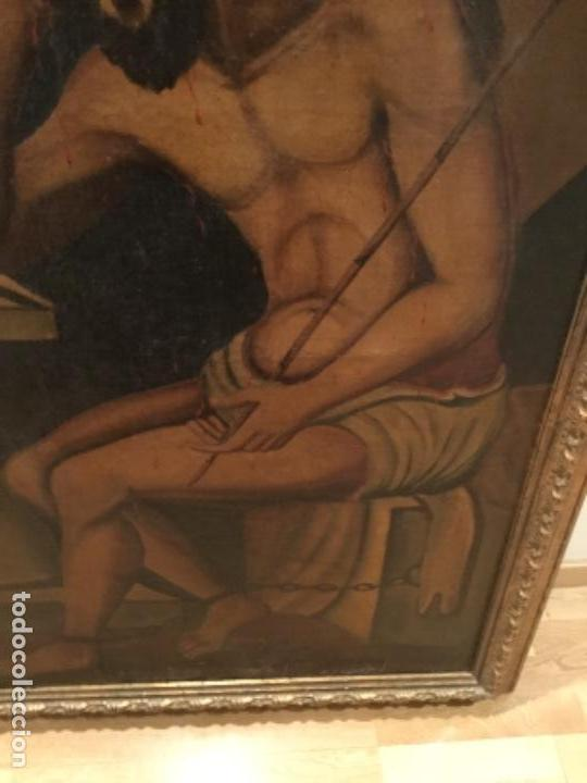Arte: Espectacular óleo sobre lienzo , Ecce Homo.Cristo cautivo, Siglo XVII, sin repintes, original - Foto 5 - 115408767
