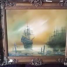 Arte: ATMOSPHERIC MARINE OIL - NAPOLEONIC PERIOD SHIPS ANCHORED SUNSET HARBOUR. Lote 135481842