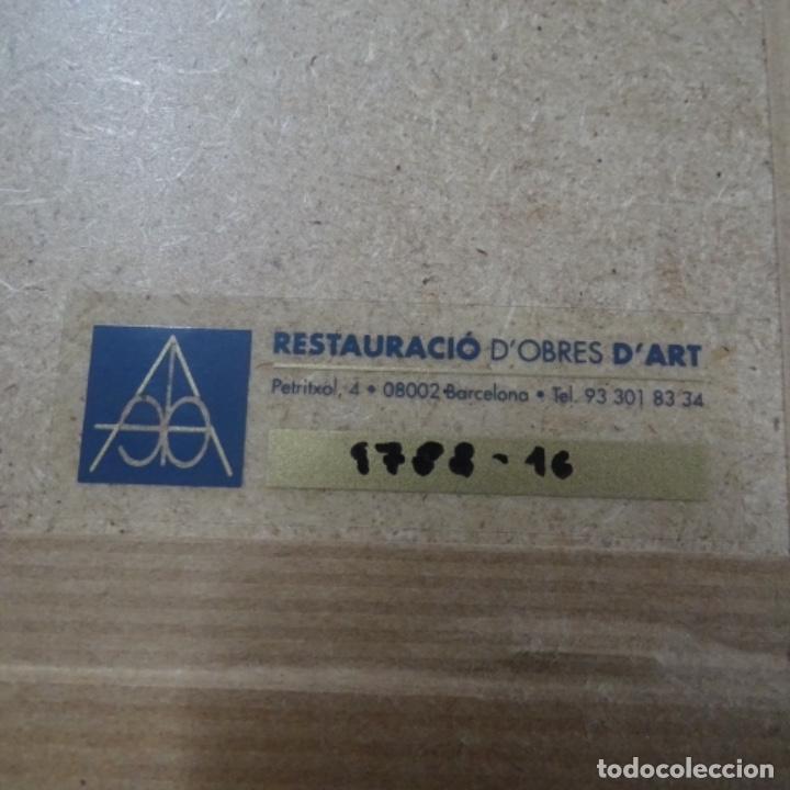 Arte: Óleo sobre tabla anónimo.restaurado.muy buen trazo.maestro.escuela catalana. - Foto 9 - 135732115