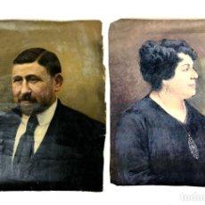 Arte: PAREJA DE RETRATOS. ÓLEO SOBRE TELA. SIN FIRMA. ESPAÑA. SIGLO XIX-XX.. Lote 135797598