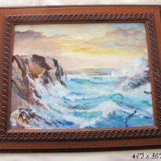 Arte: MARINA AL OLEO SOBRE TABLA . Lote 135806542
