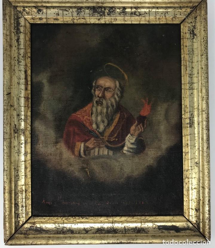 Arte: Oleo antiguo y raro de San Agustín de Hipona - Foto 3 - 135815298