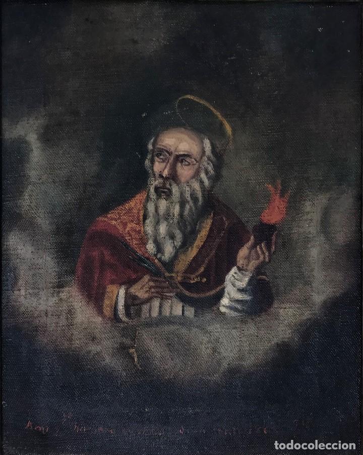 OLEO ANTIGUO Y RARO DE SAN AGUSTÍN DE HIPONA (Arte - Pintura - Pintura al Óleo Antigua sin fecha definida)