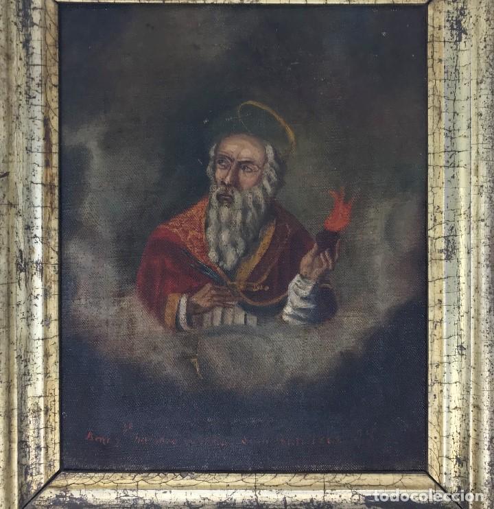 Arte: Oleo antiguo y raro de San Agustín de Hipona - Foto 4 - 135815298