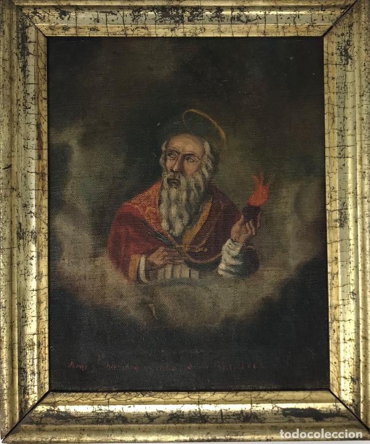 Arte: Oleo antiguo y raro de San Agustín de Hipona - Foto 2 - 135815298
