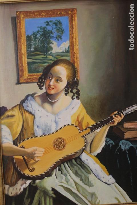 MUJER TOCANDO LA GUITARRA, SEGÚN JOHANNES VERMEER(1632-1675) ANÓNIMO, OLEO SOBRE TABLA. 42X48CM (Arte - Pintura - Pintura al Óleo Moderna sin fecha definida)