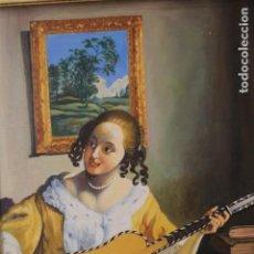 Arte: MUJER TOCANDO LA GUITARRA, SEGÚN JOHANNES VERMEER(1632-1675) ANÓNIMO, OLEO SOBRE TABLA. 42X48CM. Lote 135819330