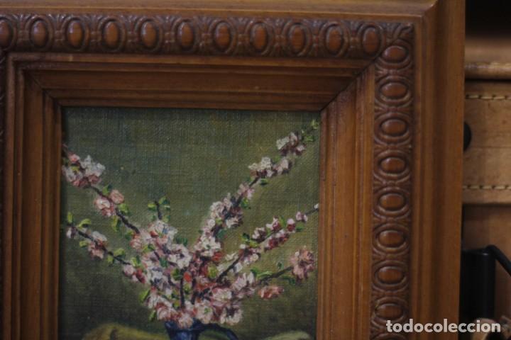 Arte: BODEGÓN DE FLORES, FLORERO, ESCUELA TAMAÑO, PEQUEÑO TAMAÑO, ENMARCADO. 21x24 - Foto 4 - 135820614