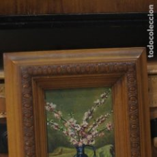 Arte: BODEGÓN DE FLORES, FLORERO, ESCUELA TAMAÑO, PEQUEÑO TAMAÑO, ENMARCADO. 21X24. Lote 135820614