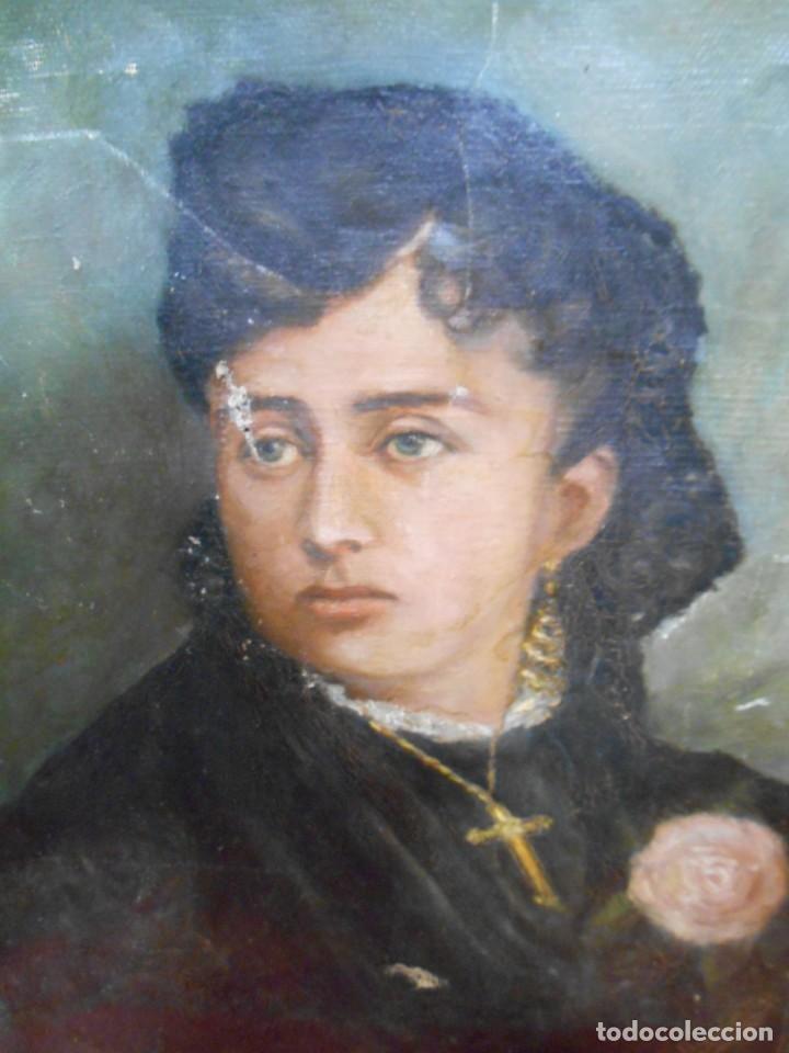 ANTIGUO OLEO SOBRE TELA - RETRATO FEMENINO - FIRMA ILEGIBLE - (Arte - Pintura - Pintura al Óleo Antigua sin fecha definida)