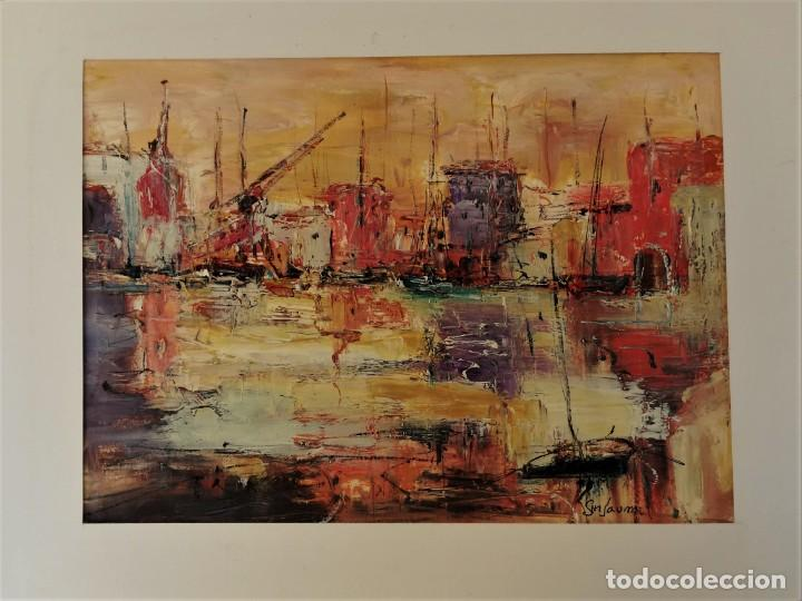 VICENS GINJAUME. PUERTO BARCELONETA (Arte - Pintura - Pintura al Óleo Contemporánea )